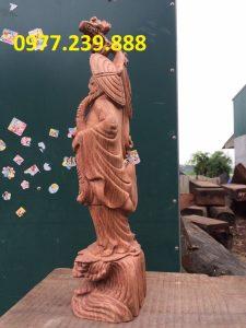 Đạt ma phong thủy đứng bằng gỗ hương đá