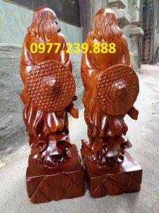 Đạt ma phong thủy đứng bằng gỗ hương đỏ