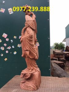 Đạt ma phong thủy đứng bằng gỗ hương ta