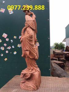 Đạt ma phong thủy đứng gỗ hương đá