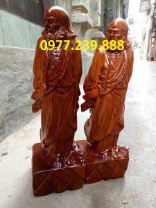 Đạt ma phong thủy đứng gỗ hương