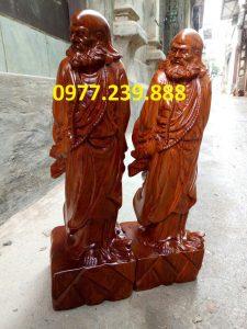 Đạt ma phong thủy đứng gỗ hương lào