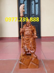 Tượng Quan Vân Trường bằng gỗ bách xanh 40cm