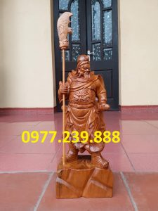 Tượng Quan Vân Trường gỗ bách xanh 30cm