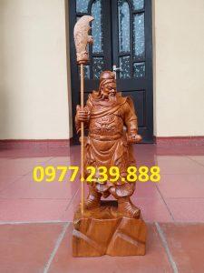 Tượng Quan Vân Trường gỗ bách xanh 50cm