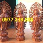 Tượng Tây Phương Tam Thánh Phật đứng bằng gỗ hương lá đề