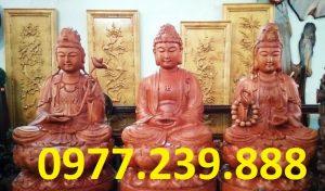 bán bộ tượng phật tam thánh phật ngồi bằng gỗ