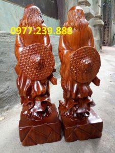 bán tượng đạt ma phong thủy gỗ hương 60cm