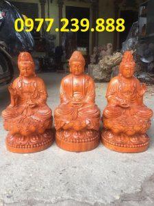 bộ tượng phật tam thánh phật ngồi bằng gỗ hương đá