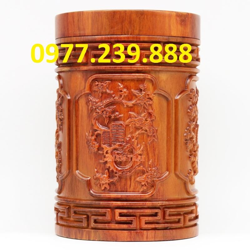 hộp trà tứ quý tùng cúc trúc mai gỗ hương ta