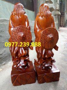 tượng Đạt ma phong thủy đứng bằng gỗ hương