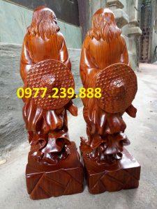 tượng Đạt ma phong thủy đứng bằng gỗ hương lào
