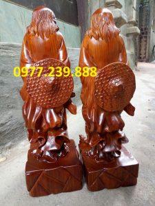 tượng Đạt ma phong thủy đứng bằng gỗ hương nam phi