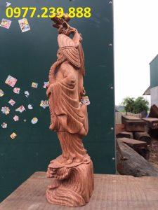 tượng Đạt ma phong thủy đứng bằng gỗ hương ta