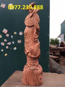 tượng đạt ma đứng gỗ hương đá