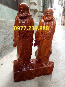 tượng đạt ma bằng gỗ hương 30cm