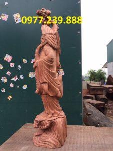 tượng đạt ma bằng gỗ hương 50cm