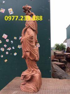 tượng đạt ma bằng gỗ hương 60cm