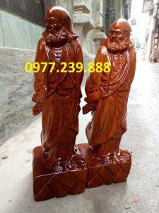 tượng đạt ma gỗ hương 70cm