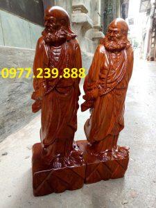 tượng đạt ma phong thủy gỗ hương 40cm