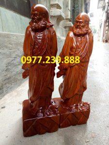 tượng đạt ma phong thủy gỗ hương 50cm