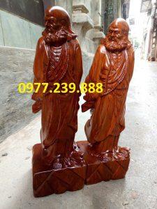 tượng đạt ma phong thủy gỗ hương 60cm