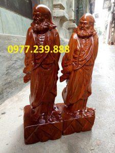 tượng đạt ma phong thủy gỗ hương 70cm