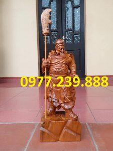tượng quan công chống đao gỗ bách xanh 20cm
