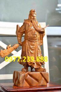 tượng quan công gỗ bách xanh phong thủy