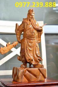 tượng quan công phong thủy gỗ bách xanh