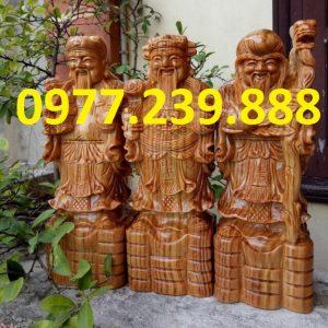 tượng tam đa đầu nhỏ bằng gỗ bách xanh 25cm