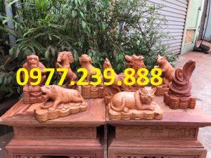 12 con giáp bằng gỗ hương đá