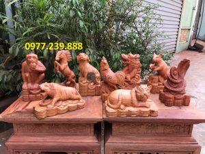 12 con giáp bằng gỗ hương đỏ