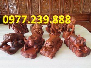 12 con giáp bằng gỗ hương