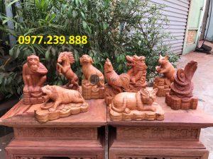 12 con giáp bằng gỗ hương lào