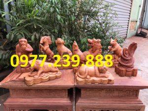 12 con giáp bằng gỗ hương nam phi