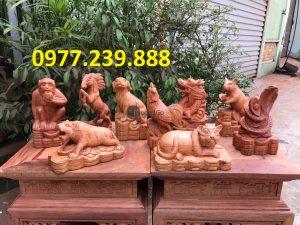 12 con giáp bằng gỗ hương ta