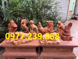 12 con giáp bằng gỗ hương việt