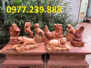 12 con giáp gỗ hương đá