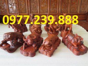 Bộ tượng 12 con giáp gỗ