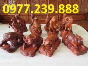 Bộ tượng 12 con giáp gỗ hương đá