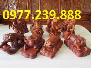 Bộ tượng 12 con giáp gỗ hương đỏ
