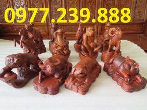 Bộ tượng 12 con giáp gỗ hương