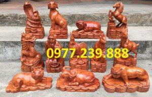Bộ tượng 12 con giáp gỗ hương lào