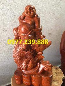 Tượng Gỗ Phật Di Lặc Cưỡi Cá Chép bằng gỗ Hương đá