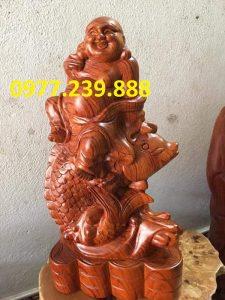 Tượng Gỗ Phật Di Lặc Cưỡi Cá Chép bằng gỗ Hương đỏ