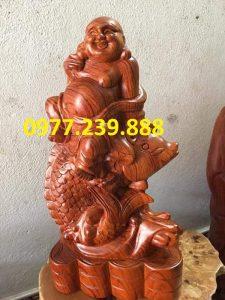 Tượng Gỗ Phật Di Lặc Cưỡi Cá Chép bằng gỗ Hương