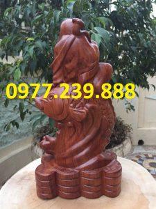 Tượng Gỗ Phật Di Lặc Cưỡi Cá Chép từ gỗ Hương