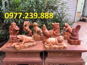 bán 12 con giáp gỗ hương