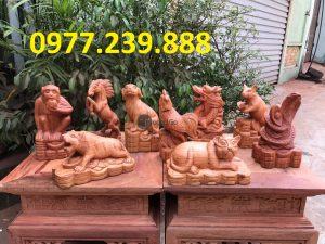 bán bán tượng 12 con giáp gỗ